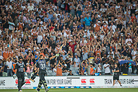 Fans salute Martin Guptill as he lives the park having scored a magnificent century during the Black Caps v Australia international T20 cricket match at Eden Park in Auckland, New Zealand. 16 February 2018. Copyright Image: Peter Meecham / www.photosport.nz