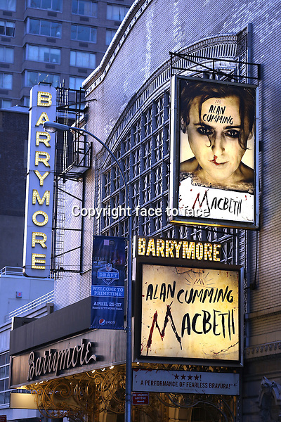 Theatre Marquee for Alan Cumming during the Broadway Opening Night Performance Curtain Call for 'MACBETH' starring Alan Cumming at The Barrymore Theatre in New York City on 4/21/2013....Credit: McBride/face to face