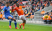 Blackpool's Viv Solomon-Otabor battles with Portsmouth's Gareth Evans<br /> <br /> Photographer Alex Dodd/CameraSport<br /> <br /> The EFL Sky Bet League One - Blackpool v Portsmouth - Saturday 11th November 2017 - Bloomfield Road - Blackpool<br /> <br /> World Copyright &copy; 2017 CameraSport. All rights reserved. 43 Linden Ave. Countesthorpe. Leicester. England. LE8 5PG - Tel: +44 (0) 116 277 4147 - admin@camerasport.com - www.camerasport.com