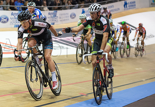 22.01.2015. Beling, Germany. Berlin 6-Day cycing tour championships.  Alex Rasmussen (R, Denmark)and Marc Hester (L, Denmark) ride at the 104th Berlin 6-Day Race
