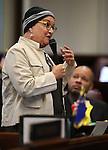 Nevada Sen. Debbie Smith, D-Sparks, speaks on the Senate floor at the Legislative Building in Carson City, Nev., on Tuesday, April 21, 2015. <br /> Photo by Cathleen Allison