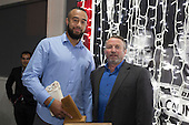 B's Red Player of the Year Asa Lehauli with B's Red Assistant Coach Ray Mountfort. Counties Manukau Rugby Unions Senior Prize giving held at ECOLight Stadium Pukekohe on Wednesday November 2nd, 2016.<br /> Photo by Richard Spranger.
