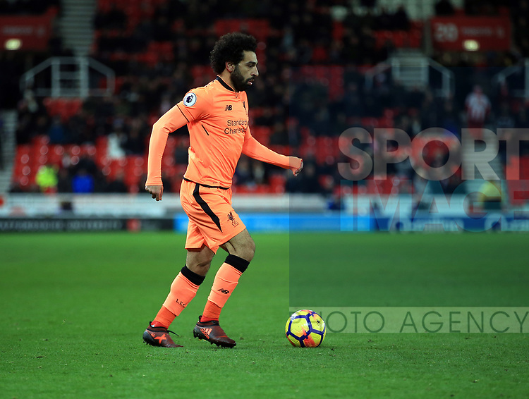 Mohamed Salah of Liverpool during the premier league match at the bet365 Stadium, Stoke on Trent. Picture date 29th November 2017. Picture credit should read: Clint Hughes/Sportimage