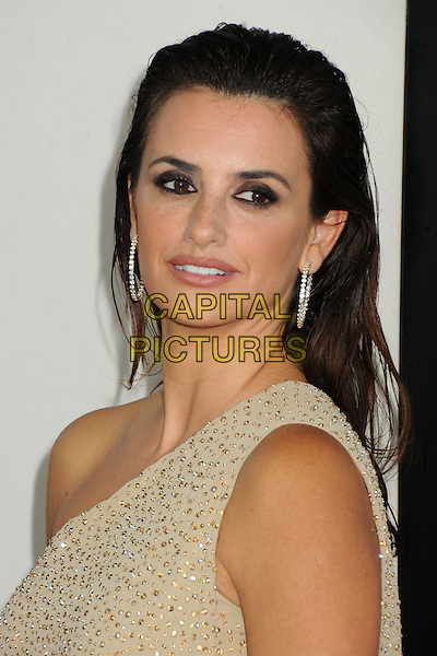 "Penelope Cruz.""To Rome With Love"" Los Angeles Film Festival North American Premiere held at Regal Cinemas LA Live, Los Angeles, California, USA..June 14th, 2012.headshot portrait beige gold sparkly one shoulder hair slicked back.CAP/ADM/BP.©Byron Purvis/AdMedia/Capital Pictures."