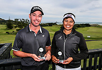Gareth Paddison and Chantelle Cassidy with the winners trophies afterthe Charles Tour, Muriwai Open at Akarana Golf Course, Auckland, New Zealand, Sunday 9 April 2017.  Photo: Simon Watts/www.bwmedia.co.nz