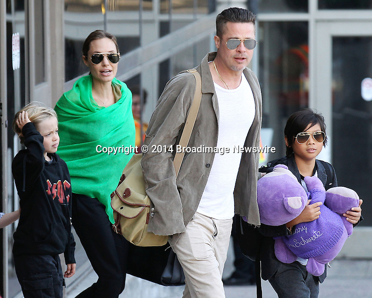 Pictured: Brad Pitt, Angelina Jolie, Shiloh Nouvel Jolie-Pitt, Maddox Chivan Jolie-Pitt, Pax Thien Jolie-Pitt, Knox Leon Jolie-Pitt, Zahara Marley Jolie-Pitt, Vivienne Marcheline Jolie-Pitt<br /> Mandatory Credit &copy; Ben Foster/Broadimage<br /> Brad Pitt, Angelina Jolie and family arriving at the Los Angeles International Airport<br /> <br /> 2/5/14, Los Angeles, California, United States of America<br /> <br /> Broadimage Newswire<br /> Los Angeles 1+  (310) 301-1027<br /> New York      1+  (646) 827-9134<br /> sales@broadimage.com<br /> http://www.broadimage.com<br /> <br /> <br /> Pictured: Brad Pitt, Angelina Jolie, Shiloh Nouvel Jolie-Pitt, Maddox Chivan Jolie-Pitt, Pax Thien Jolie-Pitt, Knox Leon Jolie-Pitt, Zahara Marley Jolie-Pitt, Vivienne Marcheline Jolie-Pitt<br /> Mandatory Credit &copy; Ben Foster/Broadimage<br /> Brad Pitt, Angelina Jolie and family arriving at the Los Angeles International Airport<br /> <br /> 2/5/14, Los Angeles, California, United States of America<br /> Reference: 020514_HDLA_BDG_003<br /> <br /> Broadimage Newswire<br /> Los Angeles 1+  (310) 301-1027<br /> New York      1+  (646) 827-9134<br /> sales@broadimage.com<br /> http://www.broadimage.com