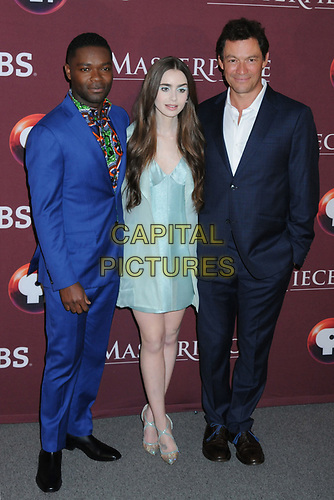 """08 April 2019 - New York, New York - David Oyelowo, Lily Collins and Dominic West at Times Talk with cast of """"LES MISERABLES"""" at the Times Center. <br /> CAP/ADM/LJ<br /> ©LJ/ADM/Capital Pictures"""
