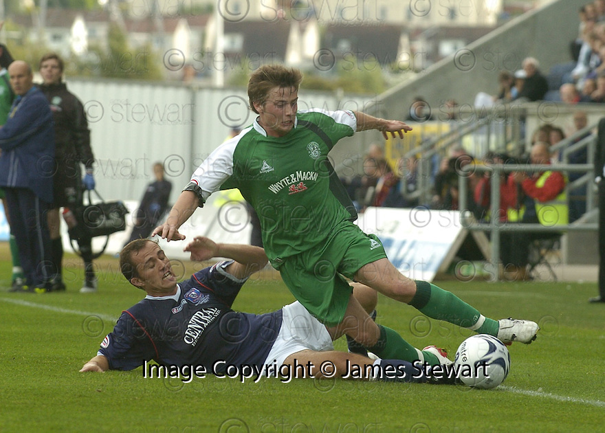 15/09/2007       Copyright Pic: James Stewart.File Name : sct_jspa17_falkirk_v_hibernian.ARNAU RIERA CHALLENGES LEWIS STEVENSON.James Stewart Photo Agency 19 Carronlea Drive, Falkirk. FK2 8DN      Vat Reg No. 607 6932 25.Office     : +44 (0)1324 570906     .Mobile   : +44 (0)7721 416997.Fax         : +44 (0)1324 570906.E-mail  :  jim@jspa.co.uk.If you require further information then contact Jim Stewart on any of the numbers above........