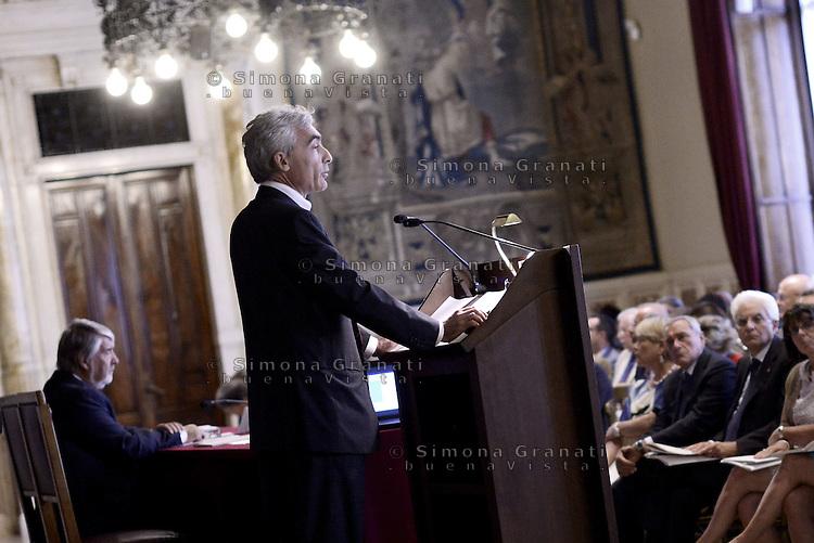 Roma, 8 Luglio 2015.<br /> Tito Boeri e Giuliano Poletti e Sergio Mattarella<br /> Camera dei Deputati. <br /> Relazione annuale INPS.