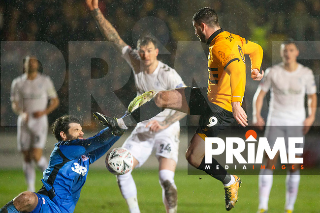 Padraig Amond of Newport County sees his shot saved by Dimitrios Konstantopoulos of Middlesbrough during the FA Cup 4th round replay match between Newport County and Middlesbrough at Rodney Parade, Newport, Wales on 5 February 2019. Photo by Mark  Hawkins / PRiME Media Images.