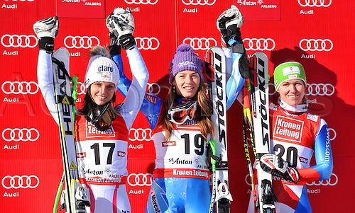 13.01.2013. St Anton, Austria.  Ski Alpine FIS World Cup Super G for women Award Ceremony Picture shows the cheering from Anna Fenninger AUT Tina Maze SLO and Fabienne Suter SUI