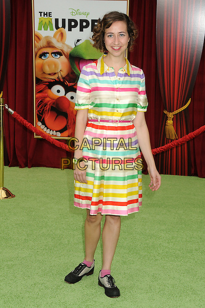 """Kristen Schaal.""""The Muppets"""" Los Angeles Premiere held at the El Capitan Theatre, Hollywood, California, USA..November 12th, 2011.full length white blue purple green red yellow stripe dress .CAP/ADM/BP.©Byron Purvis/AdMedia/Capital Pictures."""