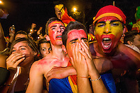 Celebrates goal of Spain