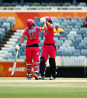 3rd November 2019; Western Australia Cricket Association Ground, Perth, Western Australia, Australia; Womens Big Bash League Cricket, Sydney Sixers verus Melbourne Stars; Alyssa Healy and Ellis Perry of the Sydney Sixers congratulate each other on an all time opening partnership record of 199 in the WBBL - Editorial Use