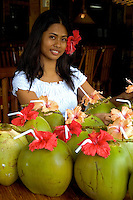 The coconut Girl, preparing a welcome drink, Buko Juice at a Resort in the Philippines