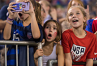 CHARLOTTE, NC - OCTOBER 3: Fans cheer during a game between Korea Republic and USWNT at Bank of America Stadium on October 3, 2019 in Charlotte, North Carolina.