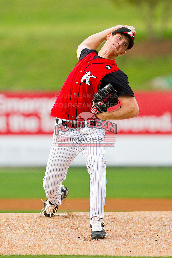 Starting pitcher Matt Heidenreich #10 of the Kannapolis Intimidators in action against the West Virginia Power at Fieldcrest Cannon Stadium on April 21, 2011 in Kannapolis, North Carolina.   Photo by Brian Westerholt / Four Seam Images