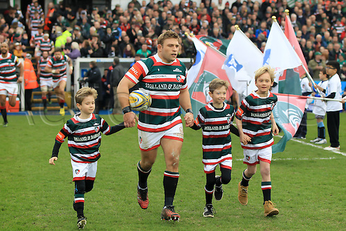 February 18th 2017,  Leicester, England; Aviva Premiership Rugby, Leicester versus Bristol;  Tigers captain Tom Youngs runs out onto the pitch at the start of the game with the aid of the match mascots