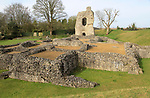 Ruined buildings of historic Ludgershall Castle, Wiltshire, England, UK