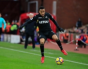 2nd December 2017, bet365 Stadium, Stoke-on-Trent, England; EPL Premier League football, Stoke City versus Swansea City;  Martin Olsson of Swansea City tries to stop the ball running out of play