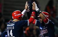 Jovan Rosa festeja su homerun por los mayos, durante el juego de beisbol de la Liga Mexicana del Pacifico temporada 2017 2018. Cuarto juego de la serie de playoffs entre Mayos de Navojoa vs Naranjeros. 05Enero2018. (Foto: Luis Gutierrez /NortePhoto.com)