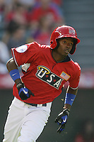 Dee Gordon of the Los Angeles Dodgers organization participates in the Futures Game at Angel Stadium in Anaheim,California on July 11, 2010. Photo by Larry Goren/Four Seam Images
