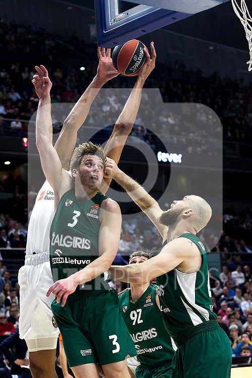 Real Madrid's Walter Tavares, Zalgiris' Nate Wolters, Zalgiris' Edgaras Ulanovasm and Zalgiris' Antanas Kavaliauskas during Euroligue match between Real Madrid and Zalgiris Kaunas at Wizink Center in Madrid, Spain. April 4, 2019.  (ALTERPHOTOS/Alconada)