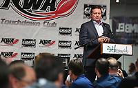 NWA Democrat-Gazette/J.T. WAMPLER Bob Stoops, former Oklahoma head football coach, speaks Wednesday Oct. 11, 2017 at the NWA Touchdown Club in Fayetteville.