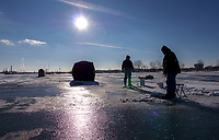 Ice fishing on Sarnia Bay