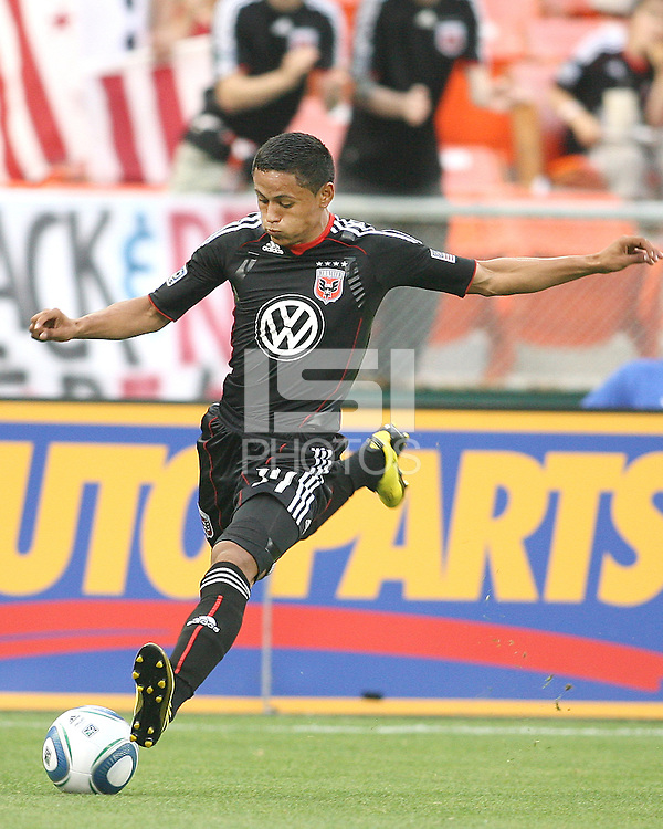 Andy Najar #14 of D.C. United sets up for a shot during an MLS match against Real Salt Lake at RFK Stadium, on June 5 2010 in Washington DC. The game ended in a 0-0 tie.
