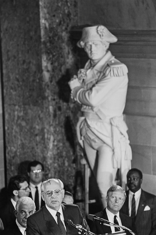 After receiving a very warm welcome and generous remarks from each of the leadership members (from both the House and Senate), Former President of the Soviet Union Mikhail Gorbachev addresses Members of Congress in Statuary Hall. Several members used this time to take catnaps on May 14, 1992. (Photo by Maureen Keating/CQ Roll Call via Getty Images)