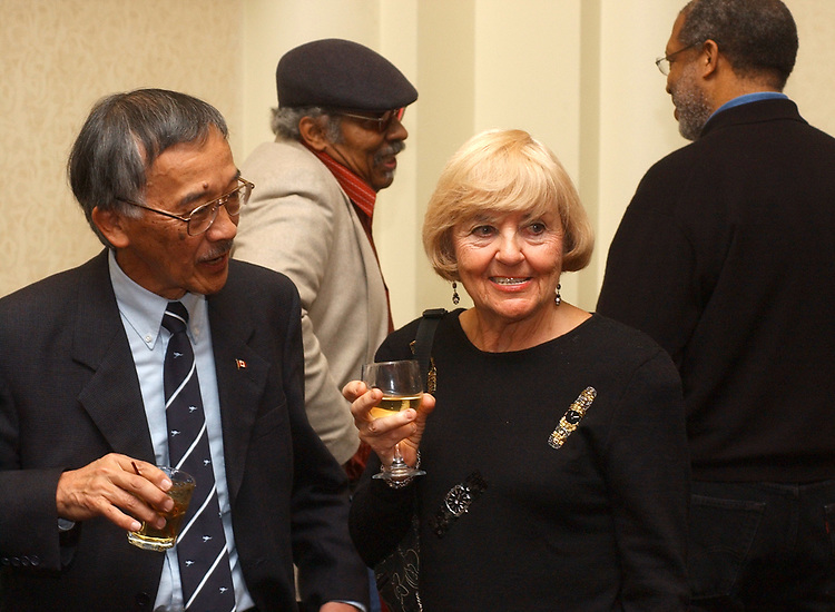 Henry Moritsugu and Eileen Swift at retirement party for Harvey Aronson at the Huntington Hilton in Melville on Thursday January 20, 2005. (Photo copyright Jim Peppler 2005).