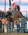 Cody Angland competes in the saddle bronc event at the Reno Rodeo, in Reno, Nev. on Friday night, June 22, 2012..Photo by Cathleen Allison