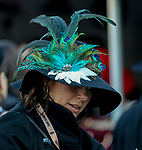 November 3, 2018 : A woman wear a fancy feather adorned hat on Breeders Cup World Championships Saturday at Churchill Downs on November 3, 2018 in Louisville, Kentucky. Bill Denver /Eclipse Sportswire/CSM