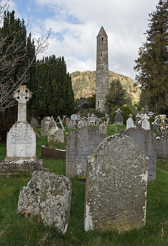 Glendalough may have been my favorite site in Ireland.  The old cemetery and buildings nestled among forested hillsides had a lot of character.