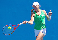 JOHANNA LARSSON (SWE) against KAIA KANEPI (EST) in the first round of the women's Singles. Kaia Kanepi  beat Johanna Larsson 6-2 6-4 ..17/01/2012, 17th January 2012, 17.01.2012..The Australian Open, Melbourne Park, Melbourne,Victoria, Australia.@AMN IMAGES, Frey, Advantage Media Network, 30, Cleveland Street, London, W1T 4JD .Tel - +44 208 947 0100..email - mfrey@advantagemedianet.com..www.amnimages.photoshelter.com.