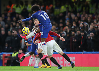 Willian of Chelsea flicks the ball into the Manchester United penalty area during Chelsea vs Manchester United, Premier League Football at Stamford Bridge on 17th February 2020