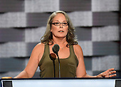 Pam Livengood a mother who's family has been affected by the growing substance abuse epidemic who are guardians for their grandson because of their daughter's struggle with addiction, makes remarks at the 2016 Democratic National Convention at the Wells Fargo Center in Philadelphia, Pennsylvania on Monday, July 25, 2016.<br /> Credit: Ron Sachs / CNP<br /> (RESTRICTION: NO New York or New Jersey Newspapers or newspapers within a 75 mile radius of New York City)