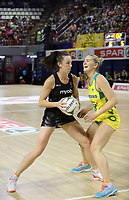JOHANNESBURG, SOUTH AFRICA - JANUARY 28: Bailey Mes of the Siver Ferns and Cortney Bruce in action during the Netball Quad Series netball match between Diamonds and Silver Ferns at the Ellis Park Arena in Johannesburg. Mandatory Photo Credit: ©Reg Caldecott/Michael Bradley Photography
