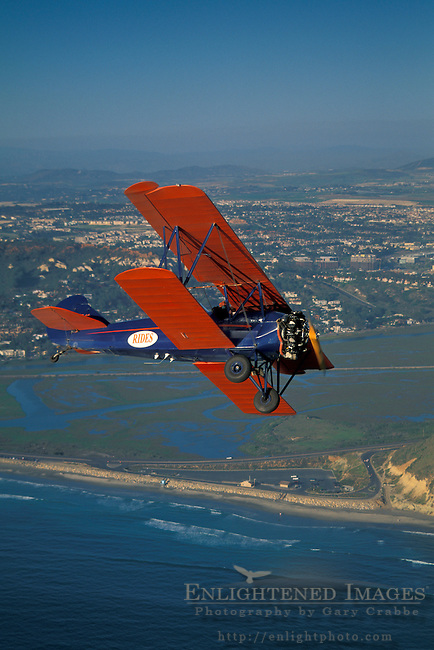 BiPlane over Torrey Pines State Beach+Northern San Diego Coastline San Diego County, CALIFORNIA