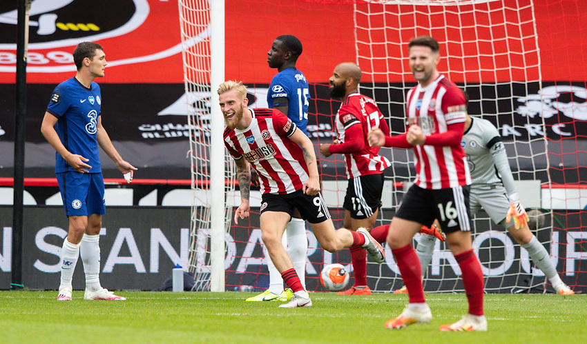 Sheffield United's Oliver McBurnie celebrates scoring his side's second goal <br /> <br /> Photographer Alex Dodd/CameraSport<br /> <br /> The Premier League - Sheffield United v Chelsea - Saturday 11th July 2020 - Bramall Lane - Sheffield<br /> <br /> World Copyright © 2020 CameraSport. All rights reserved. 43 Linden Ave. Countesthorpe. Leicester. England. LE8 5PG - Tel: +44 (0) 116 277 4147 - admin@camerasport.com - www.camerasport.com