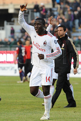 06 01 2011  Cagliari Italy.  Series A Cagliari versus AC Milan  Photo celebrations from  Rodney Strasser