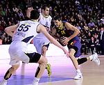 BARCELONA, SPAIN, BALONCESTO   29/11/2013<br /> Partido de Euroleague entre el Barcelona y el Fenerbahce  <br /> <br /> En imagen Emir Preldzic, Nemanja Bjelica y  Bostjan Nachbar  . FOTOS PEP DALMAU