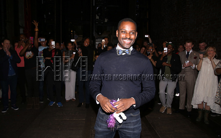 Arbender Robinson and cast during the Actors' Equity Opening Night Gypsy Robe Ceremony honoring Arbender Robinson for 'Shuffle Along' at The Music Box Theatre on April 28, 2016 in New York City.