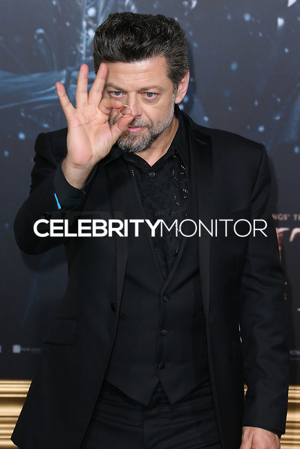 HOLLYWOOD, LOS ANGELES, CA, USA - DECEMBER 09: Andy Serkis  arrives at the World Premiere Of New Line Cinema, MGM Pictures And Warner Bros. Pictures' 'The Hobbit: The Battle of the Five Armies' held at the Dolby Theatre on December 9, 2014 in Hollywood, Los Angeles, California, United States. (Photo by Xavier Collin/Celebrity Monitor)