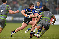 Nick Auterac of Bath Rugby goes on the attack. Anglo-Welsh Cup match, between Bath Rugby and Newcastle Falcons on January 27, 2018 at the Recreation Ground in Bath, England. Photo by: Patrick Khachfe / Onside Images