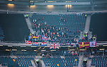 ***BETALBILD***  <br /> Solna 2015-05-31 Fotboll Allsvenskan AIK - Helsingborgs IF :  <br /> Helsingborgs supportrar med tomma sektioner p&aring; &ouml;vre etage p&aring; Friends Arena under matchen mellan AIK och Helsingborgs IF <br /> (Foto: Kenta J&ouml;nsson) Nyckelord:  AIK Gnaget Friends Arena Allsvenskan Helsingborg HIF supporter fans publik supporters inomhus interi&ouml;r interior