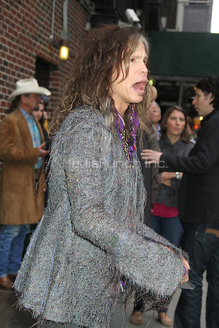 NEW YORK, NY - NOVEMBER 1: Steven Tyler of Aerosmith at The Ed Sullivan Theater for an appearance on Late Show with David Letterman in New York City. November 1, 2012. © RW/MediaPunch Inc.