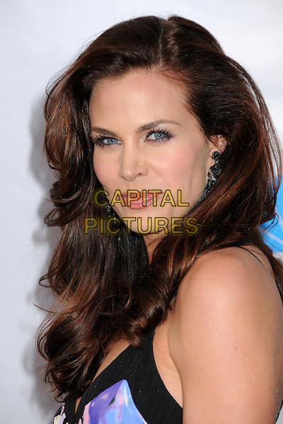 """BROOKE BURNS.The Cable Show 2010 """"An Evening with NBC Universal"""" held at Universal Studios Hollywood, Universal City, California, USA..May 12th, 2010.headshot portrait purple print smiling blue cut out yellow white black.CAP/ADM/BP.©Byron Purvis/AdMedia/Capital Pictures."""
