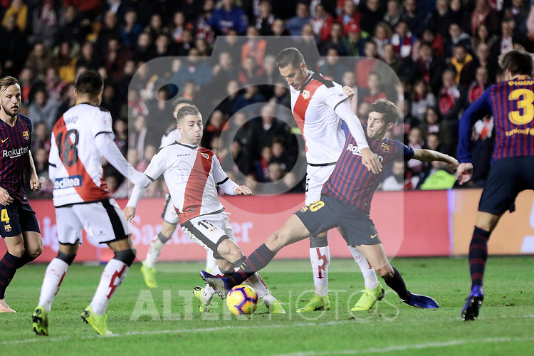 Rayo Vallecano's Adrian Embarba and FC Barcelona's Sergi Roberto during La Liga match between Rayo Vallecano and FC Barcelona at Vallecas Stadium in Madrid, Spain. November 03, 2018. (ALTERPHOTOS/A. Perez Meca)